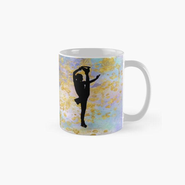 Golden Aspirations Figure Skating Watercolor Graphic Silhouette Design Classic Mug