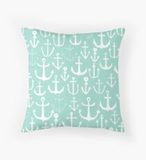Anchors - Mint - Cute summer nautical pattern in mint and white by Andrea Lauren Throw Pillow