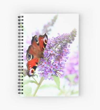 Peacock on the buddleia Spiral Notebook