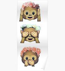 see no evil monkey emoji hipster flower crown tumblr Poster