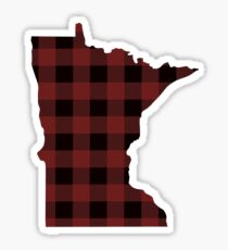 Minnesota Home State roten und schwarzen Buffalo Plaid Outline Sticker