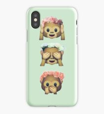 see no evil monkey emoji hipster flower crown tumblr iPhone Case