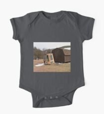 Old Abandon Construction Vehicle Top near a Shed One Piece - Short Sleeve