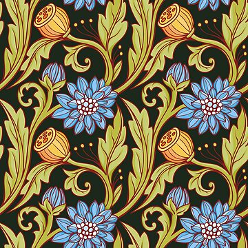 Seamless floral pattern. Blue and green, black background. Composition 1. by Nadiiaz