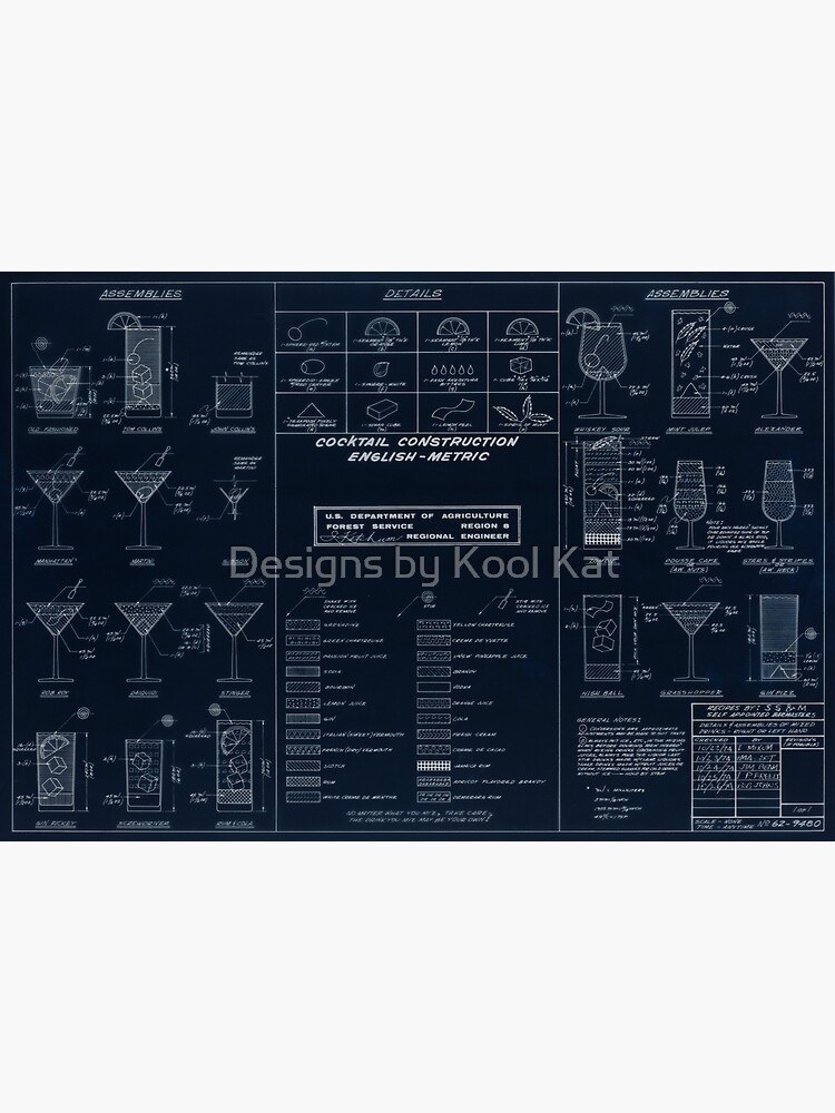 Cocktail Construction Chart - Blueprint Version by United States Forest Service by Framerkat