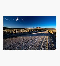 Road to the mountains in the desert Photographic Print