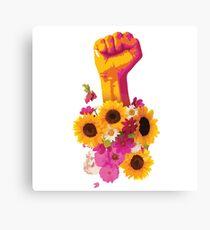 Girl Power Fist Floral Canvas Print
