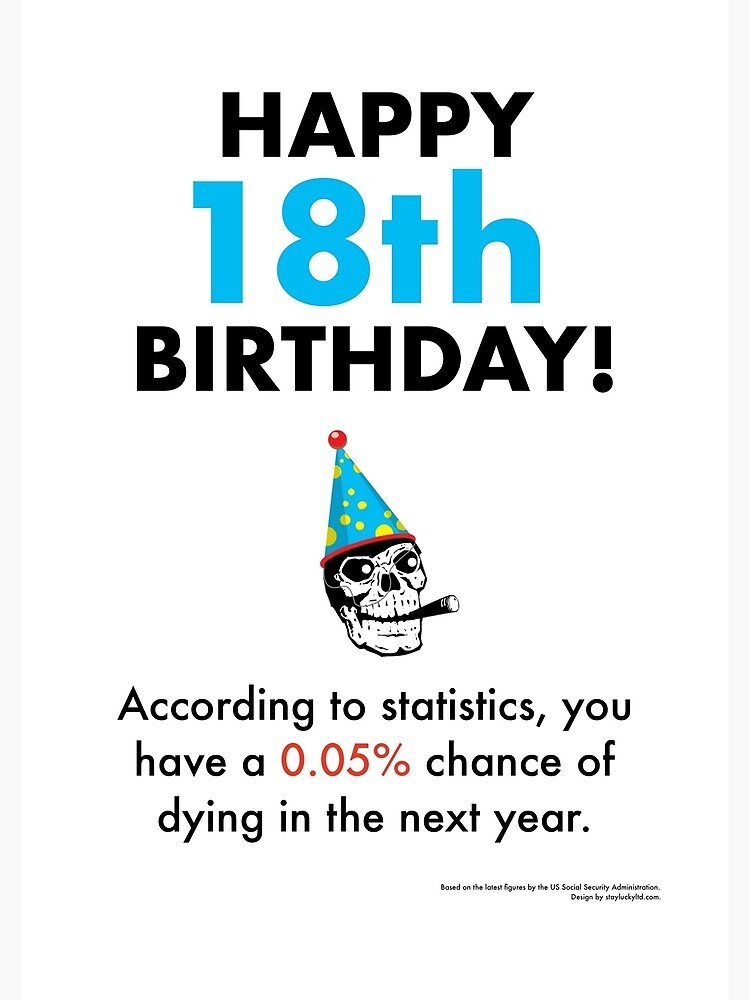You have a 0.05% chance of dying in the next year - 18th birthday card [depressing statistics greetings card] by staylucky