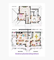 House of Lorelai & Rory Gilmore - Both Floorplans Photographic Print