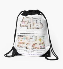 House of Lorelai & Rory Gilmore - Both Floorplans Drawstring Bag