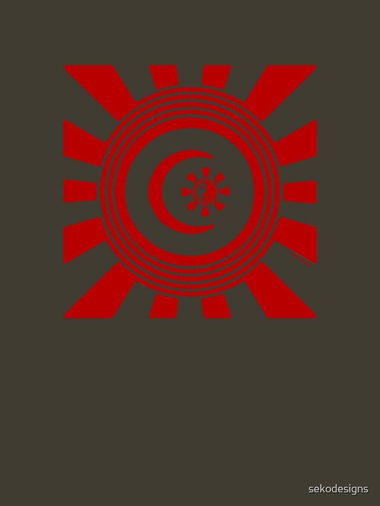 Mandala 34 Version 2 Yin-Yang Colour Me Red  by sekodesigns