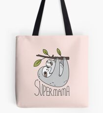 Super Mama Mom and Baby Sloth Tote Bag