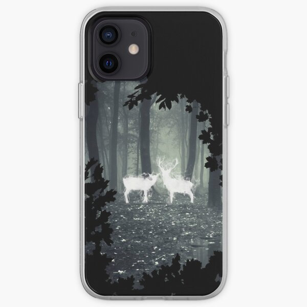 HP best friend - magic stag and doe in the forest with trees borders - witch / wizard  iPhone Soft Case