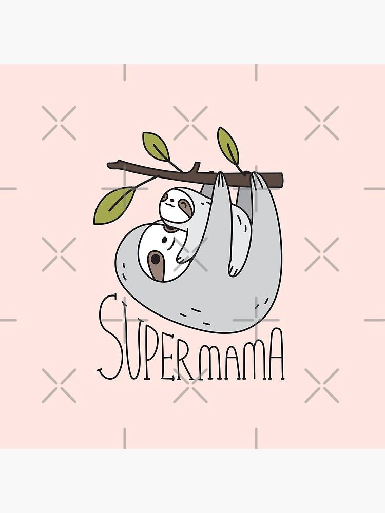 Super Mama Mom and Baby Sloth by Miri-Noristudio