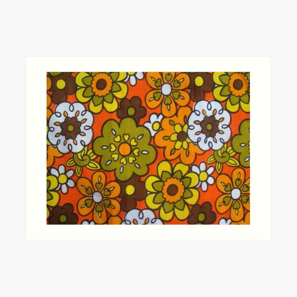 Retro Cool Mid Century Floral Fabric Design in Avocado Green, Harvest Gold, Brown, and Orange Art Print