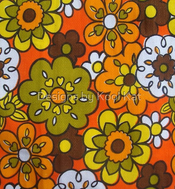Retro Cool Mid Century Floral Fabric Design in Avocado Green, Harvest Gold, Brown, and Orange by Framerkat