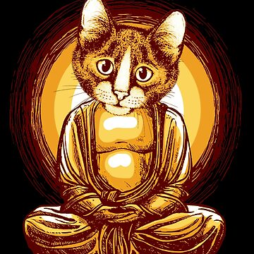 Sitting Buddha Cat Meditating by Teeming