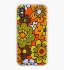 Retro Cool Mid Century Floral Fabric Design in Avocado Green, Harvest Gold, Brown, and Orange iPhone Case