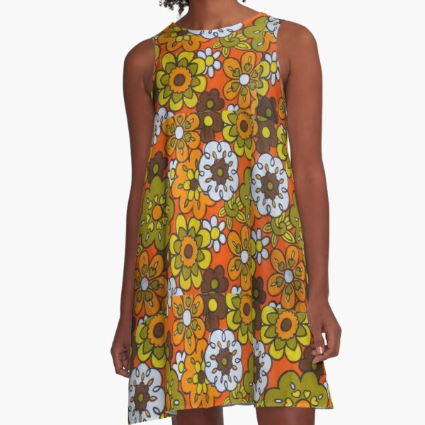 Retro Cool Mid Century Floral Fabric Design in Avocado Green, Harvest Gold, Brown, and Orange A-Line Dress