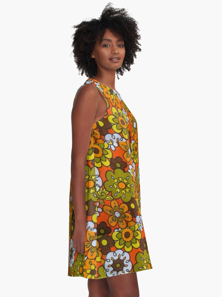 Alternate view of Retro Cool Mid Century Floral Fabric Design in Avocado Green, Harvest Gold, Brown, and Orange A-Line Dress