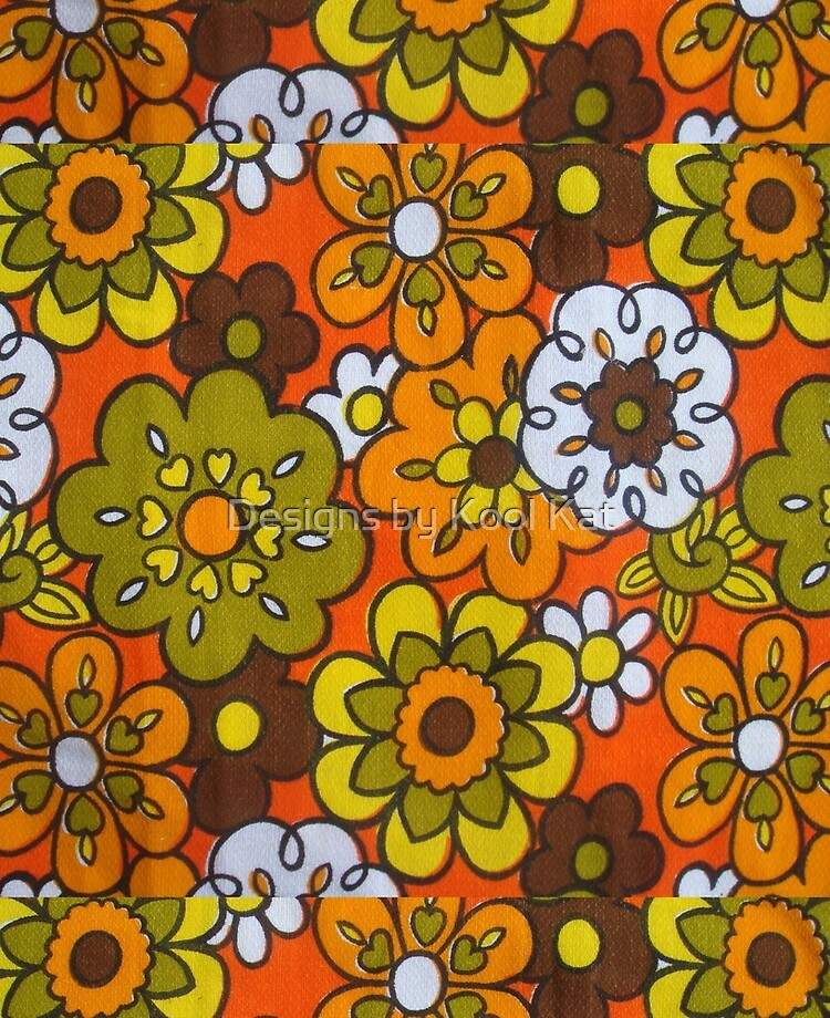 Retro Cool Mid Century Floral Fabric Design In Avocado Green Harvest Gold Brown And Orange Ipad Case Skin By Framerkat Redbubble,What Colors Go With Light Mint Green
