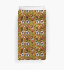 Retro Cool Mid Century Floral Fabric Design in Avocado Green, Harvest Gold, Brown, and Orange Duvet Cover