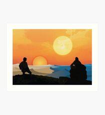 Hero's Journey: Binary Sunset Art Print