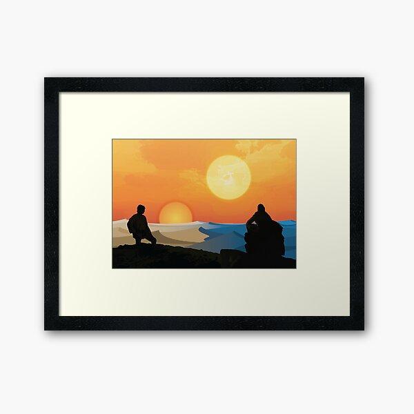 Hero's Journey: Binary Sunset Framed Art Print
