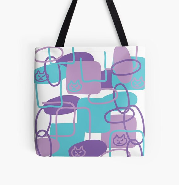 Lilac Cat All Over Print Tote Bag