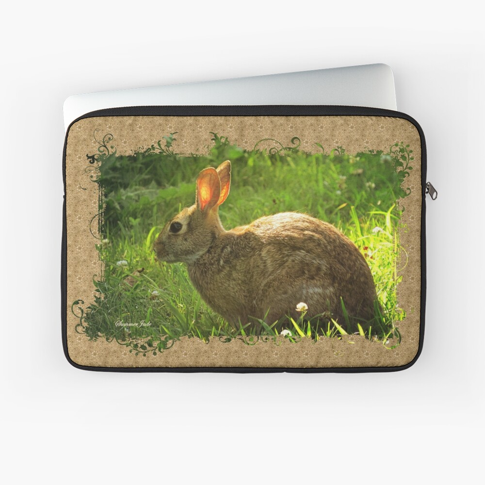 Wild Bunny ~ In a Patch of Clover Laptop Sleeve