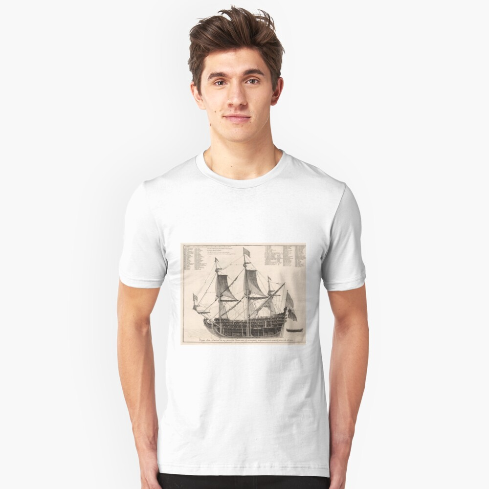 Vintage Naval Vessel Interior Diagramm (1693) Slim Fit T-Shirt