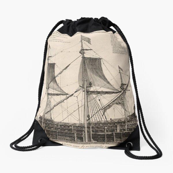 Vintage Naval Vessel Interior Diagram (1693) Drawstring Bag