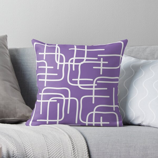 Lilac Cat Purple Lines Throw Pillow