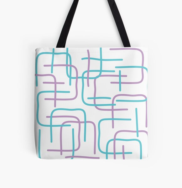 Lilac Cat Lines All Over Print Tote Bag