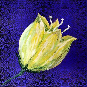 yellow tulip on purple swirly background by DlmtleArt