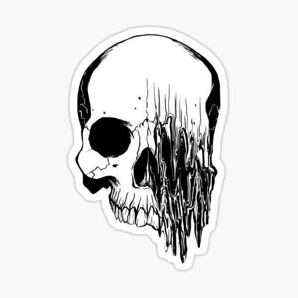 Liquify Skull Drawing, version 2 Sticker