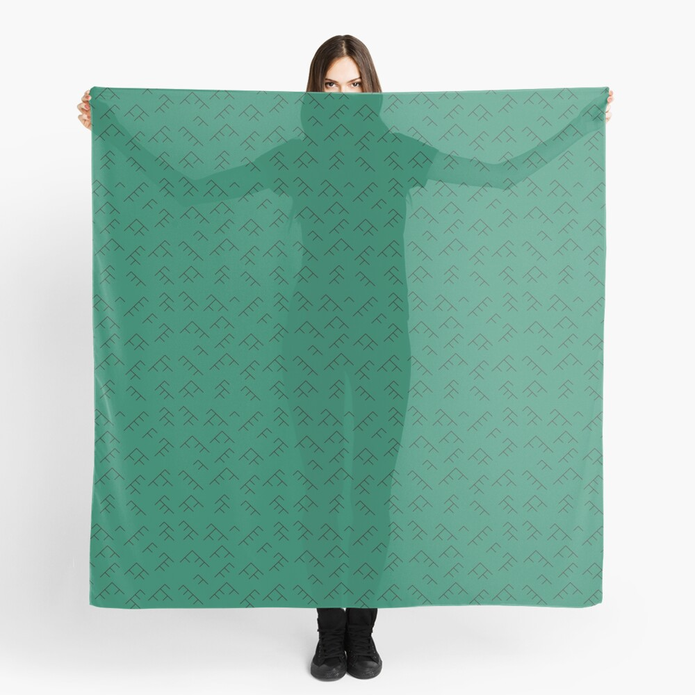 Tree diagram scarf - teal and black Scarf