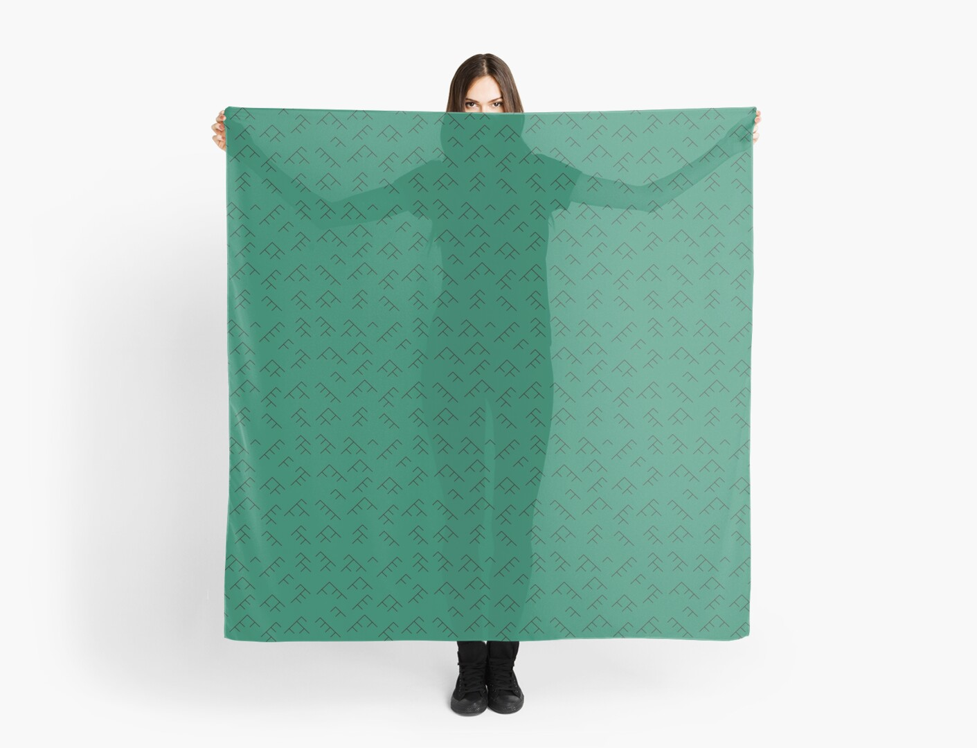 Tree diagram scarf - teal and black by Lingthusiasm