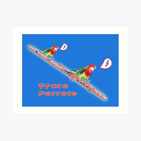 Two Parrots Flute Music Art Print