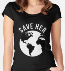 Save Her Climate Change Earth Day 2018 Women's Fitted Scoop T-Shirt