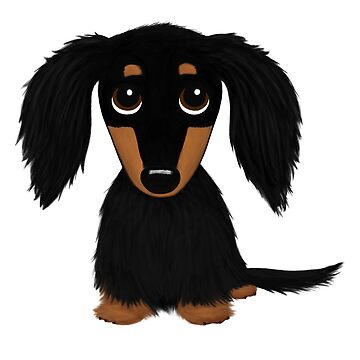 Black and Tan Long Haired Dachshund by ShortCoffee