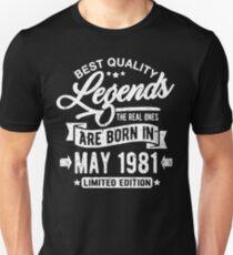 Camiseta unisex Legends born in may 1981