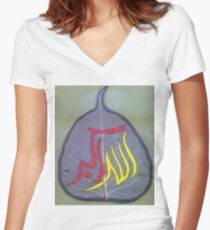 Leaf Painting Allaho Akber Women's Fitted V-Neck T-Shirt