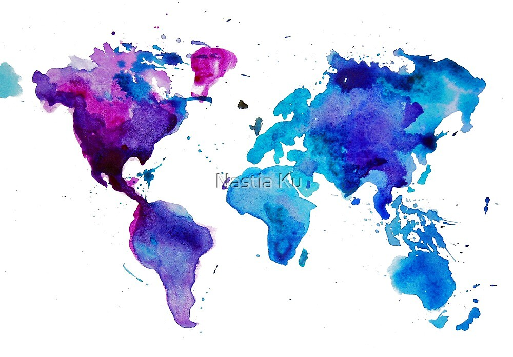 Watercolor Map of the World by ychty