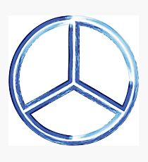 Abstract watercolor peace sign - Hand painted Photographic Print