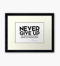 never give up - l. frank baum Framed Print