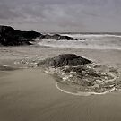 An endless flow of sand and shells, ebbs back and forth by ocean swells by Chamika Amarasiri