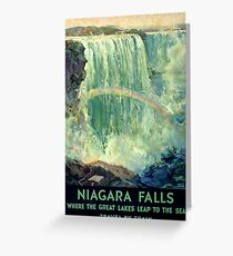 Niagara Falls Vintage Travel Poster Restored Greeting Card