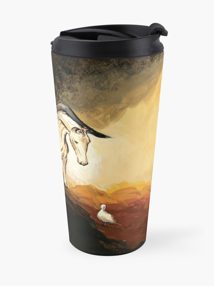 Alternate view of Winged horse with seagull - Silver Stream Children's Book illustration Travel Mug