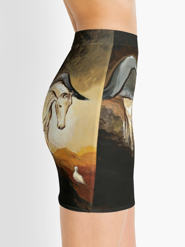 Alternate view of Winged horse with seagull - Silver Stream Children's Book illustration Mini Skirt